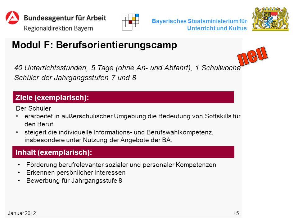 Bayerisches Staatsministerium für Unterricht und Kultus 15 Modul F: Berufsorientierungscamp Der Schüler erarbeitet in außerschulischer Umgebung die Be