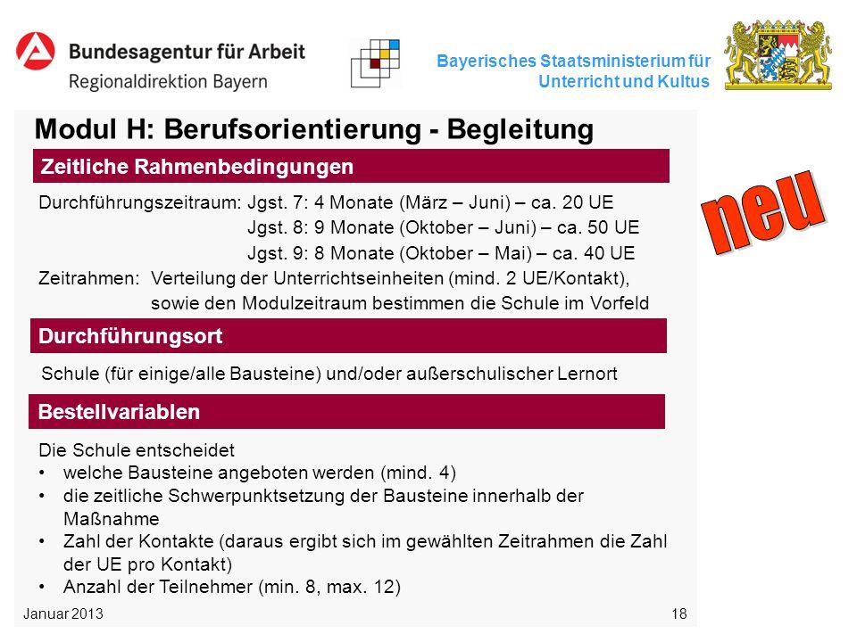 Bayerisches Staatsministerium für Unterricht und Kultus 18 Modul H: Berufsorientierung - Begleitung Schule (für einige/alle Bausteine) und/oder außers