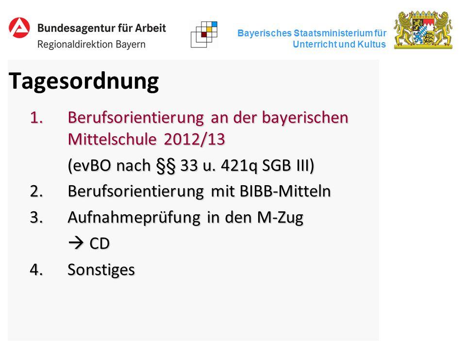 Bayerisches Staatsministerium für Unterricht und Kultus Tagesordnung 1.Berufsorientierung an der bayerischen Mittelschule 2012/13 (evBO nach §§ 33 u.