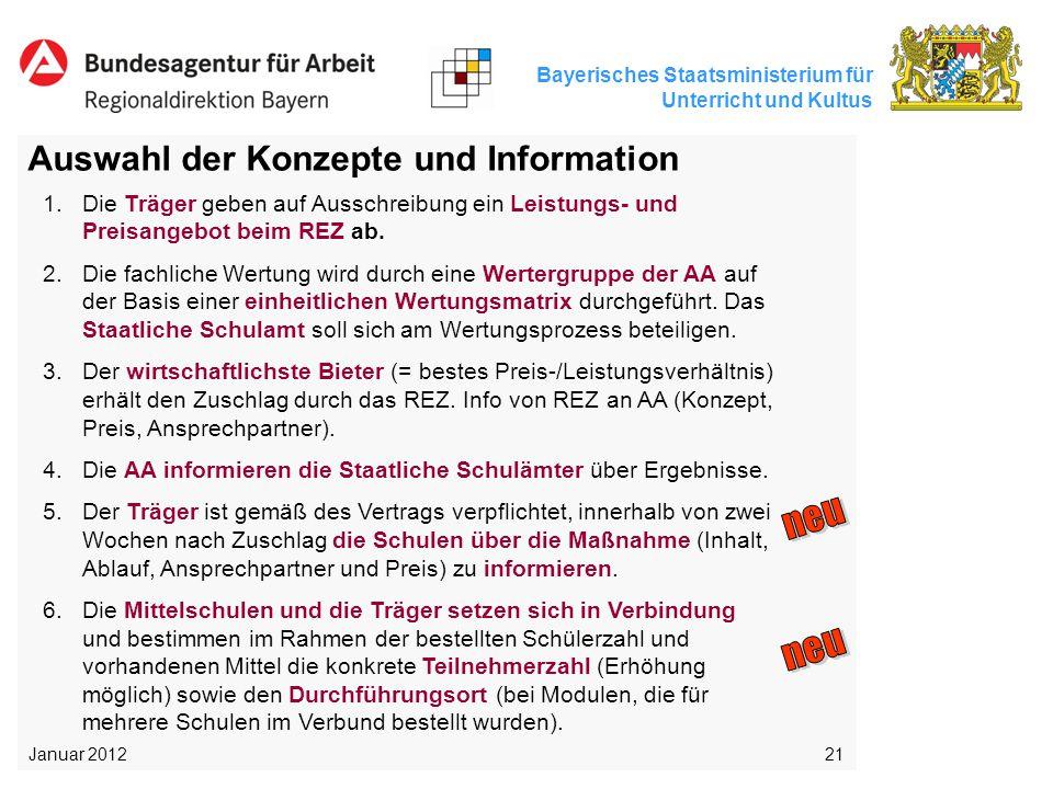 Bayerisches Staatsministerium für Unterricht und Kultus 21 Auswahl der Konzepte und Information 1.Die Träger geben auf Ausschreibung ein Leistungs- un