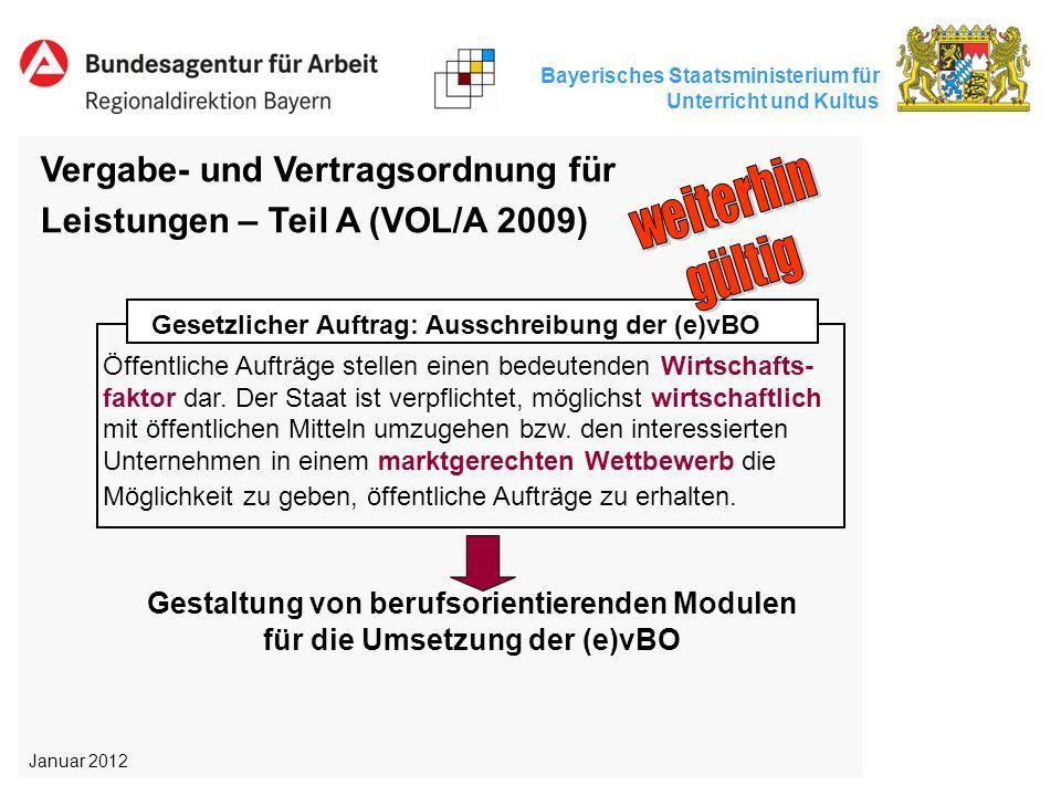 Bayerisches Staatsministerium für Unterricht und Kultus Vergabe- und Vertragsordnung für Leistungen – Teil A (VOL/A 2009) Gesetzlicher Auftrag: Aussch