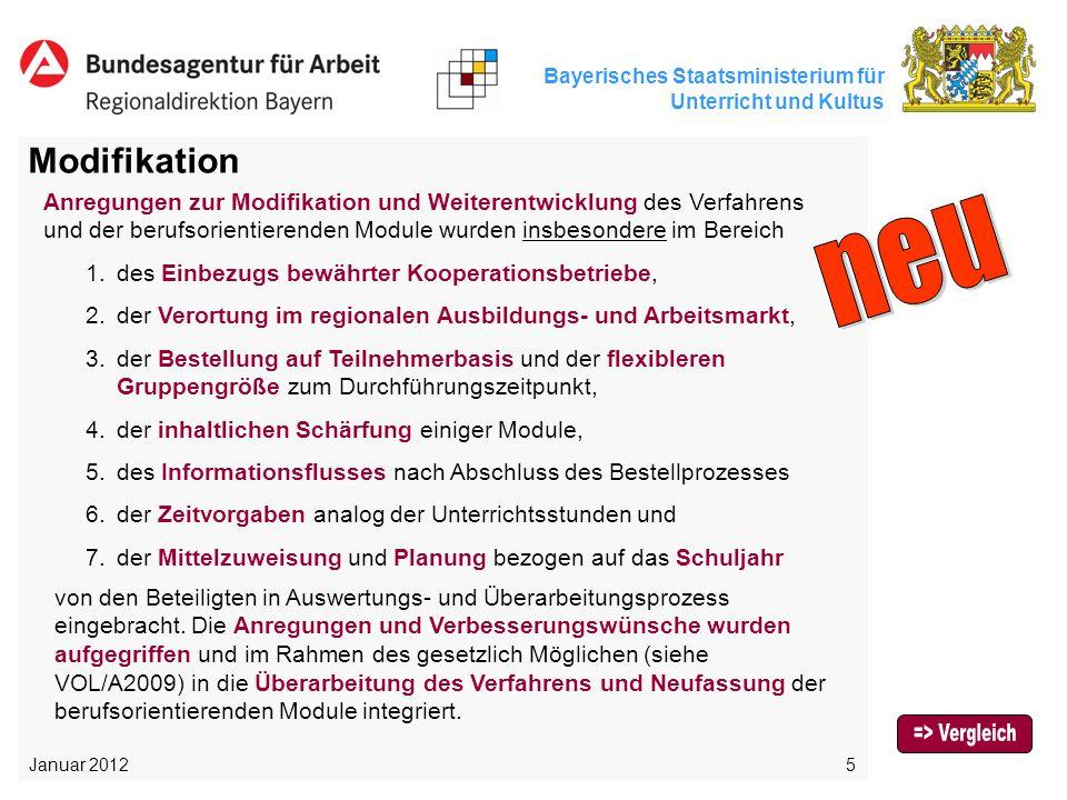 Bayerisches Staatsministerium für Unterricht und Kultus 5 Modifikation Anregungen zur Modifikation und Weiterentwicklung des Verfahrens und der berufs