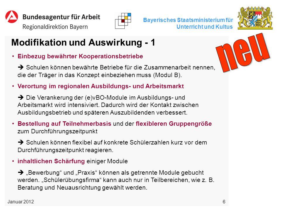 Bayerisches Staatsministerium für Unterricht und Kultus 6 Modifikation und Auswirkung - 1 Januar 2012 Einbezug bewährter Kooperationsbetriebe  Schule