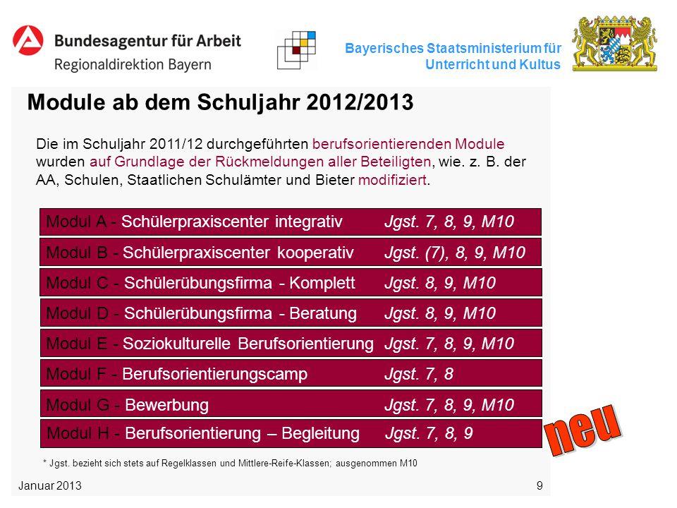 Bayerisches Staatsministerium für Unterricht und Kultus 9 Module ab dem Schuljahr 2012/2013 Die im Schuljahr 2011/12 durchgeführten berufsorientierend