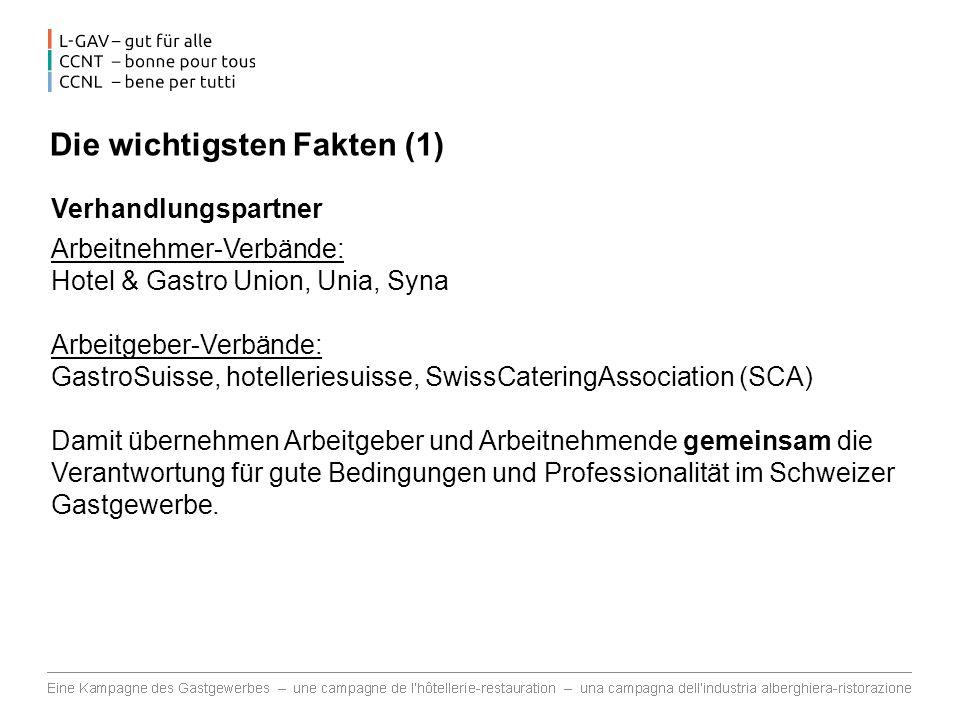 Die wichtigsten Fakten (1) Verhandlungspartner Arbeitnehmer-Verbände: Hotel & Gastro Union, Unia, Syna Arbeitgeber-Verbände: GastroSuisse, hotelleriesuisse, SwissCateringAssociation (SCA) Damit übernehmen Arbeitgeber und Arbeitnehmende gemeinsam die Verantwortung für gute Bedingungen und Professionalität im Schweizer Gastgewerbe.