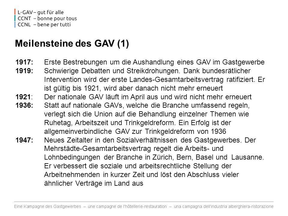 Meilensteine des GAV (2) 1954: Der Mehr-Regionen-Gesamtarbeitsvertrag regelt die Arbeitsbedingungen in den Regionen, wo bisher kein GAV abgeschlossen werden konnte 1960: Gescheiterte GAV-Verhandlungen führen in Biel beinahe zu einem Streik 1987: A 1.
