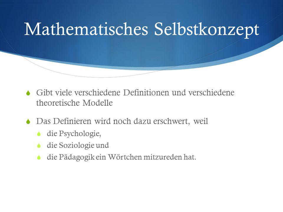 Mathematisches Selbstkonzept  Gibt viele verschiedene Definitionen und verschiedene theoretische Modelle  Das Definieren wird noch dazu erschwert, w