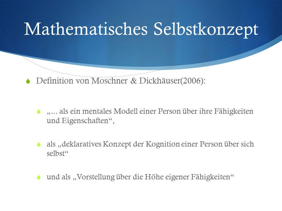 """Mathematisches Selbstkonzept  Definition von Moschner & Dickhäuser(2006):  """"... als ein mentales Modell einer Person über ihre Fähigkeiten und Eigen"""