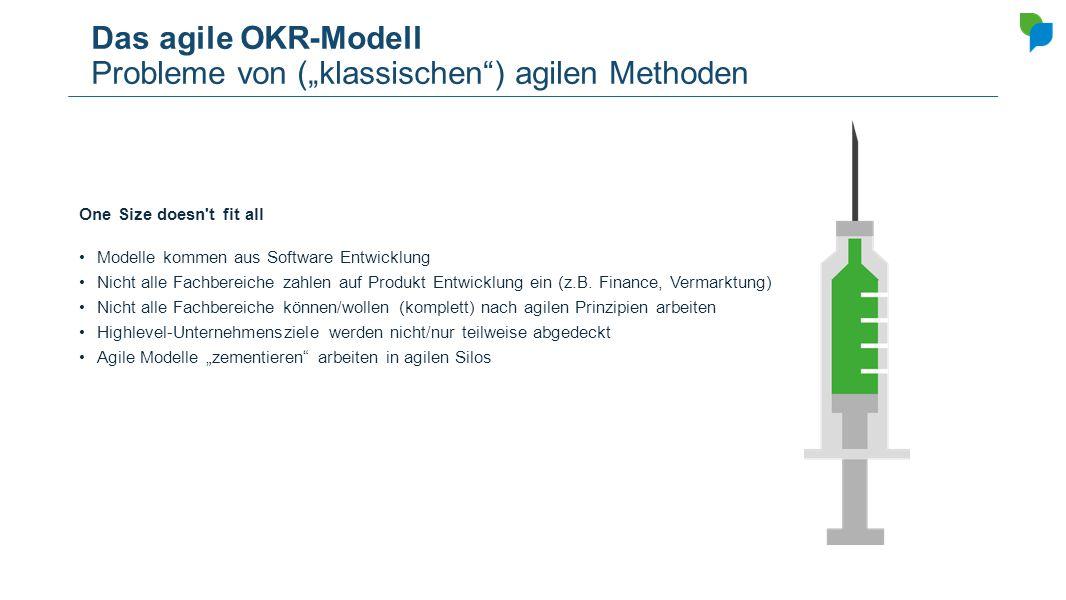 """Das agile OKR-Modell Probleme von (""""klassischen"""") agilen Methoden One Size doesn't fit all Modelle kommen aus Software Entwicklung Nicht alle Fachbere"""