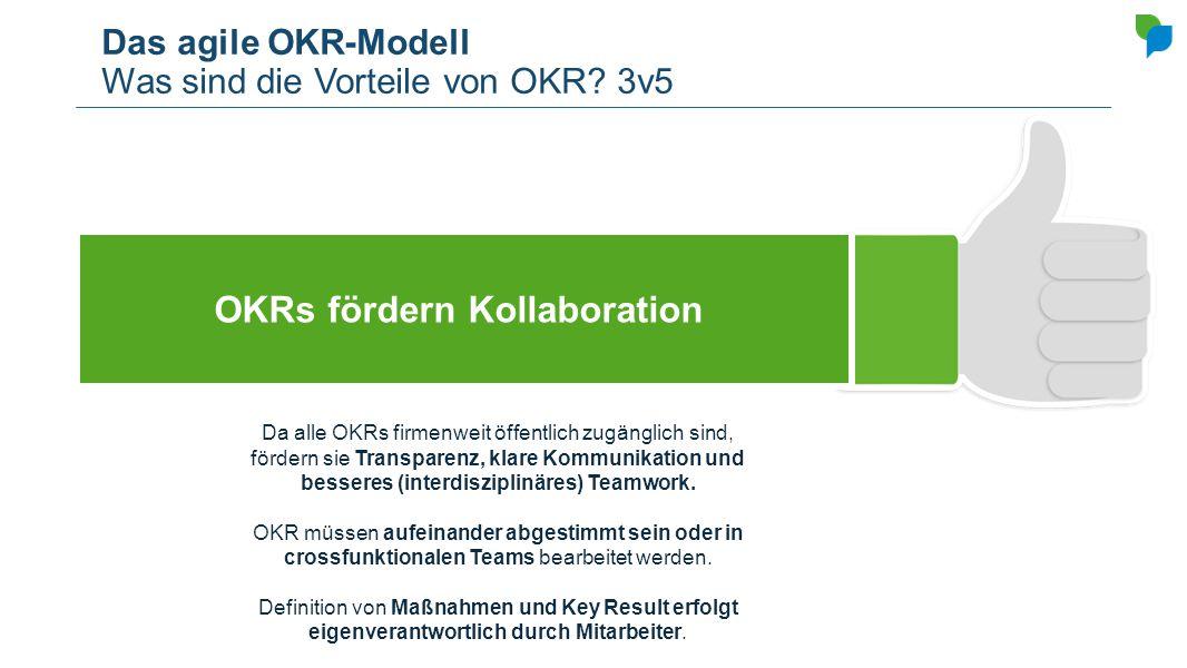 Das agile OKR-Modell Was sind die Vorteile von OKR? 3v5 OKRs fördern Kollaboration Da alle OKRs firmenweit öffentlich zugänglich sind, fördern sie Tra
