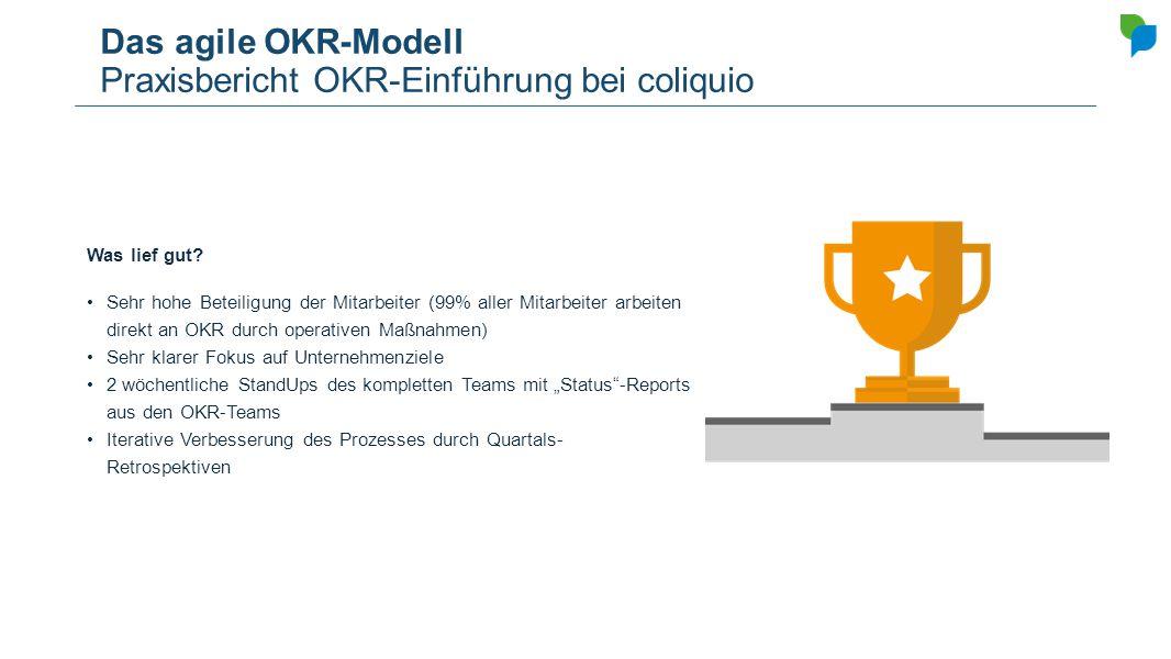Das agile OKR-Modell Praxisbericht OKR-Einführung bei coliquio Was lief gut? Sehr hohe Beteiligung der Mitarbeiter (99% aller Mitarbeiter arbeiten dir