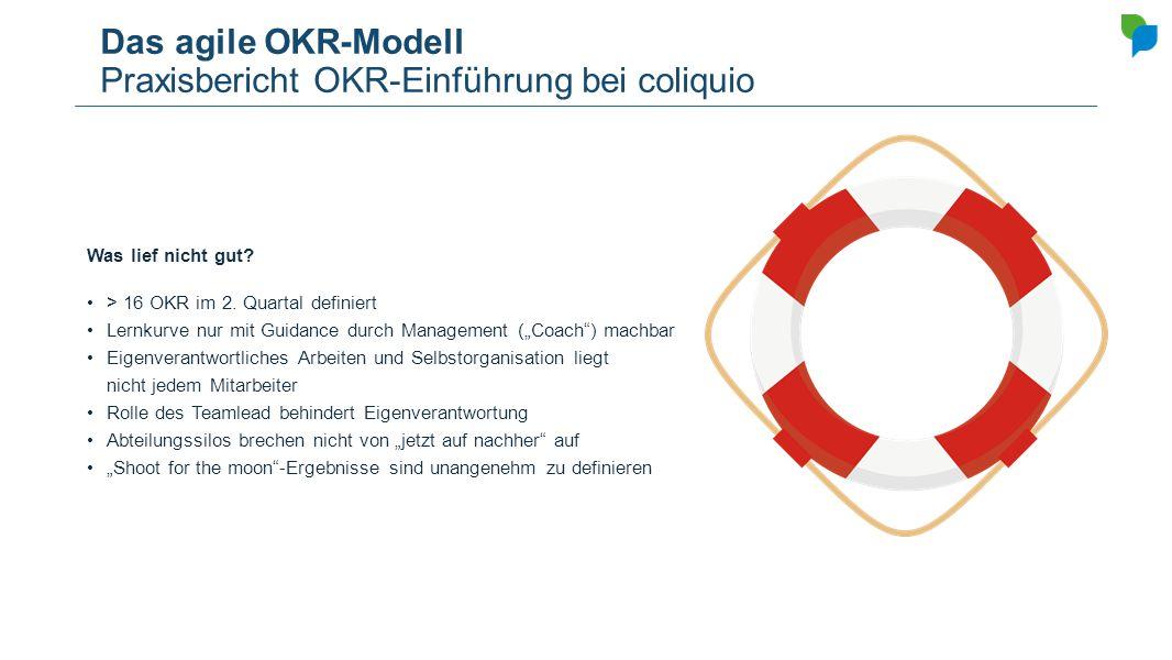 Das agile OKR-Modell Praxisbericht OKR-Einführung bei coliquio Was lief nicht gut? > 16 OKR im 2. Quartal definiert Lernkurve nur mit Guidance durch M