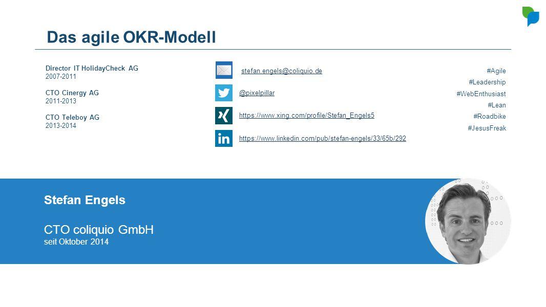 Das agile OKR-Modell Stefan Engels CTO coliquio GmbH seit Oktober 2014 Director IT HolidayCheck AG 2007-2011 CTO Cinergy AG 2011-2013 CTO Teleboy AG 2