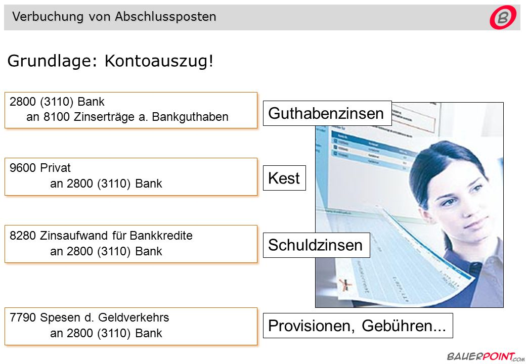 2800 (3110) Bank an 8100 Zinserträge a.Bankguthaben 2800 (3110) Bank an 8100 Zinserträge a.