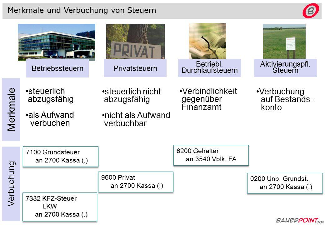 Betriebssteuern Privatsteuern Betriebl.Durchlaufsteuern Aktivierungspfl.