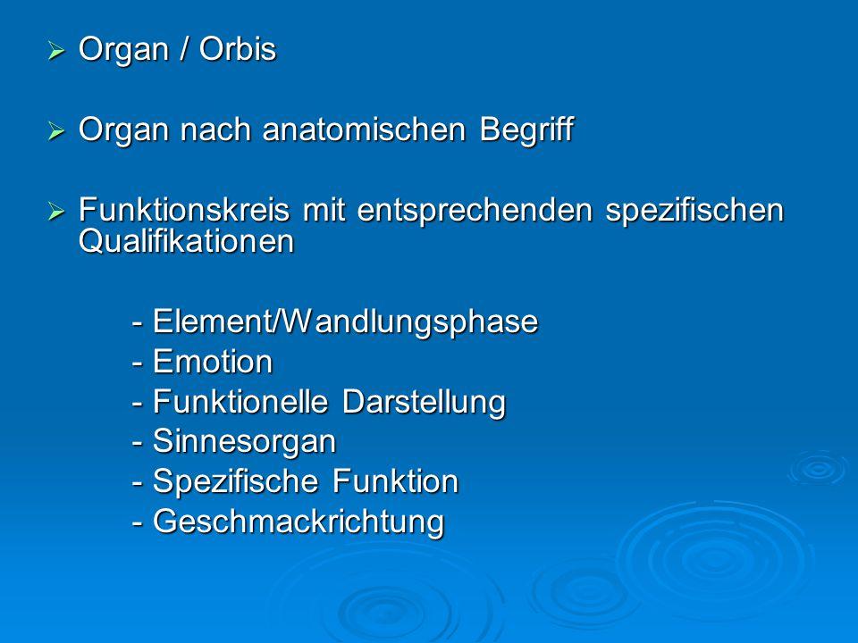  Organ / Orbis  Organ nach anatomischen Begriff  Funktionskreis mit entsprechenden spezifischen Qualifikationen - Element/Wandlungsphase - Emotion - Funktionelle Darstellung - Sinnesorgan - Spezifische Funktion - Geschmackrichtung
