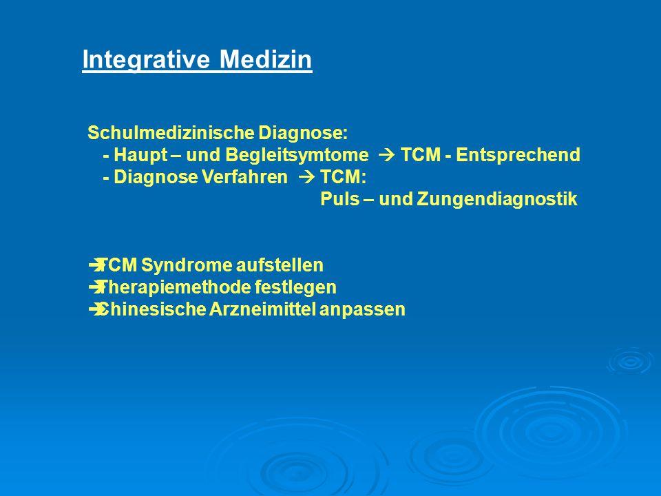 Integrative Medizin Schulmedizinische Diagnose: - Haupt – und Begleitsymtome  TCM - Entsprechend - Diagnose Verfahren  TCM: Puls – und Zungendiagnostik  TCM Syndrome aufstellen  Therapiemethode festlegen  Chinesische Arzneimittel anpassen