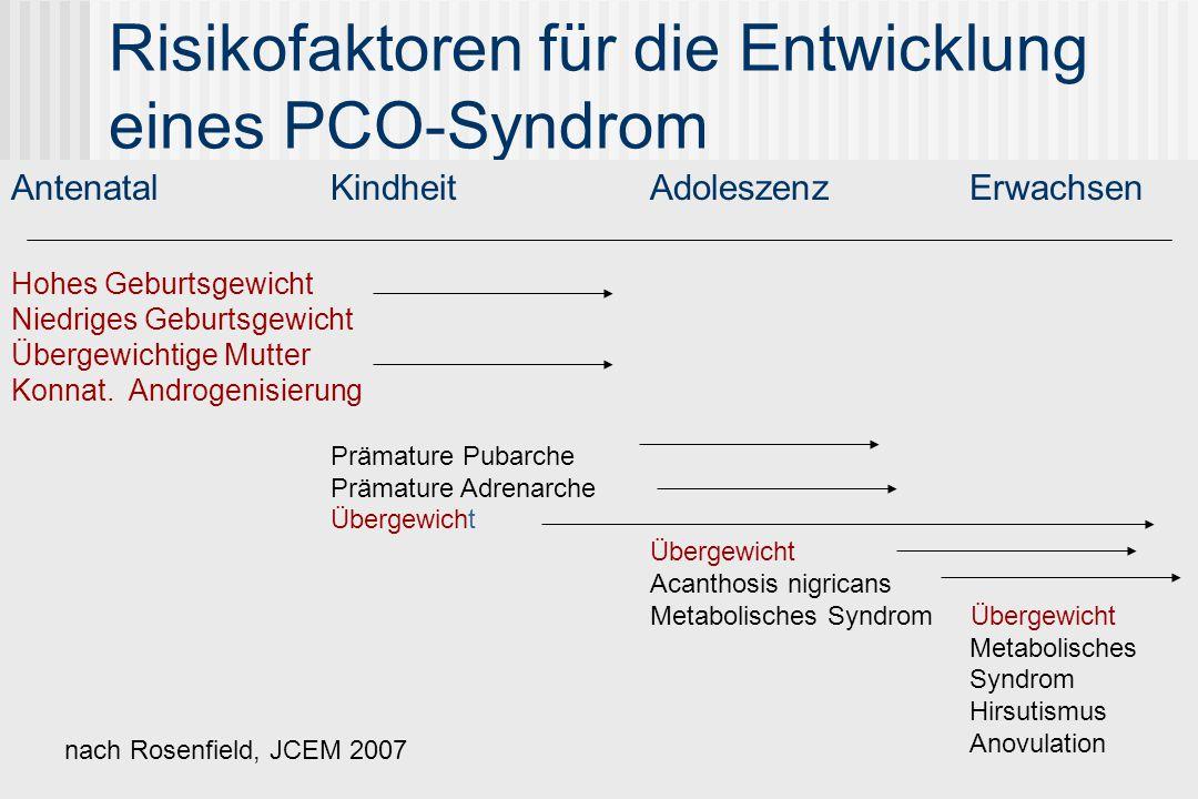 Risikofaktoren für die Entwicklung eines PCO-Syndrom AntenatalKindheitAdoleszenzErwachsen Hohes Geburtsgewicht Niedriges Geburtsgewicht Übergewichtige Mutter Konnat.