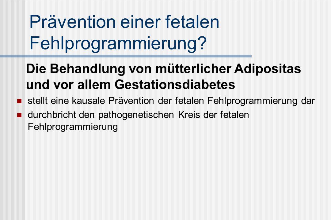 Prävention einer fetalen Fehlprogrammierung.