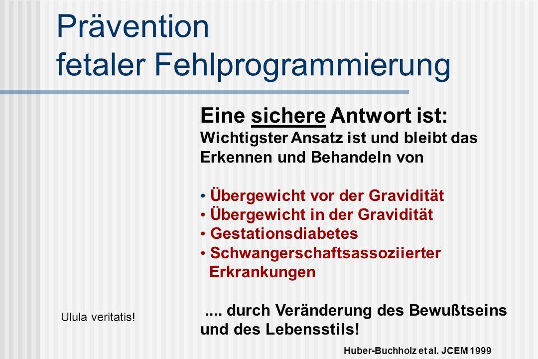 Prävention fetaler Fehlprogrammierung Eine sichere Antwort ist: Wichtigster Ansatz ist und bleibt das Erkennen und Behandeln von Übergewicht vor der Gravidität Übergewicht in der Gravidität Gestationsdiabetes Schwangerschaftsassoziierter Erkrankungen....