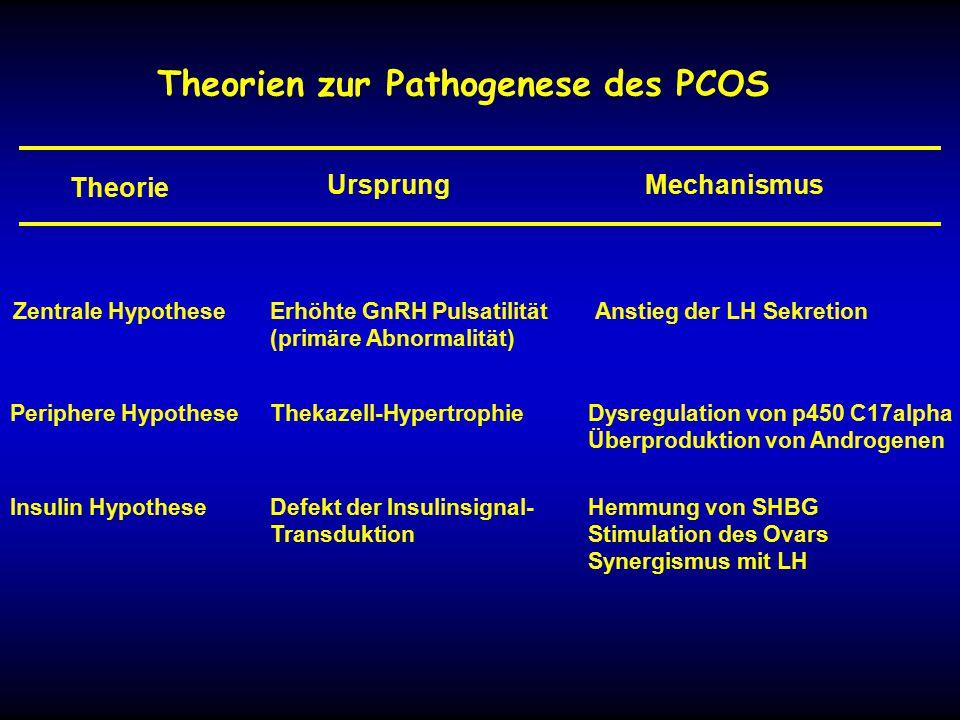 Theorien zur Pathogenese des PCOS Theorie MechanismusUrsprung Zentrale HypotheseErhöhte GnRH Pulsatilität (primäre Abnormalität) Anstieg der LH Sekretion Periphere HypotheseThekazell-HypertrophieDysregulation von p450 C17alpha Überproduktion von Androgenen Insulin HypotheseDefekt der Insulinsignal- Transduktion Hemmung von SHBG Stimulation des Ovars Synergismus mit LH