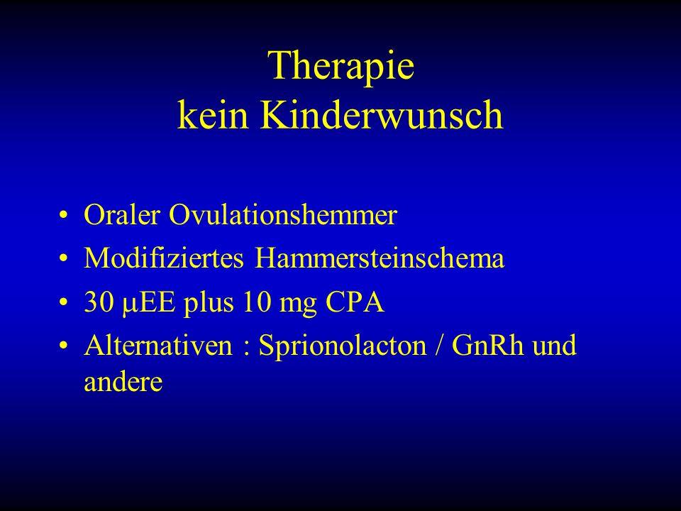 Therapie kein Kinderwunsch Oraler Ovulationshemmer Modifiziertes Hammersteinschema 30  EE plus 10 mg CPA Alternativen : Sprionolacton / GnRh und andere