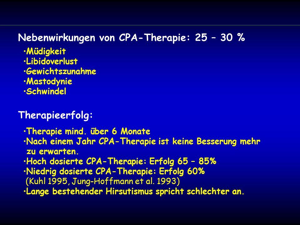 Müdigkeit Libidoverlust Gewichtszunahme Mastodynie Schwindel Nebenwirkungen von CPA-Therapie: 25 – 30 % Therapie mind.