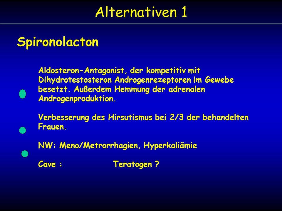 Alternativen 1 Spironolacton Aldosteron-Antagonist, der kompetitiv mit Dihydrotestosteron Androgenrezeptoren im Gewebe besetzt.