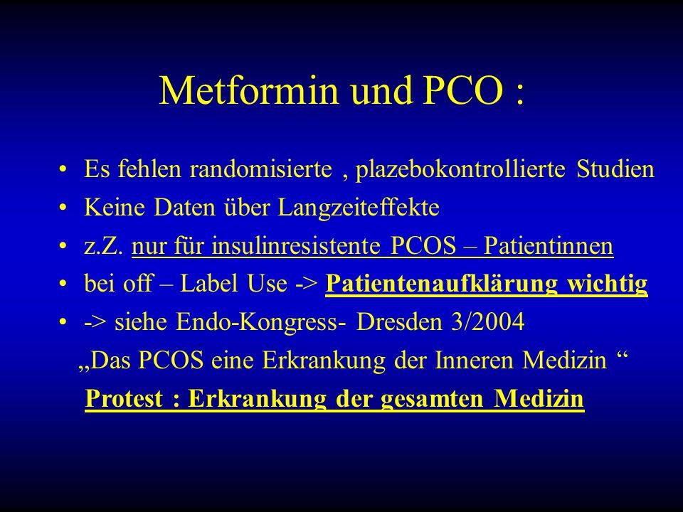Metformin und PCO : Es fehlen randomisierte, plazebokontrollierte Studien Keine Daten über Langzeiteffekte z.Z.