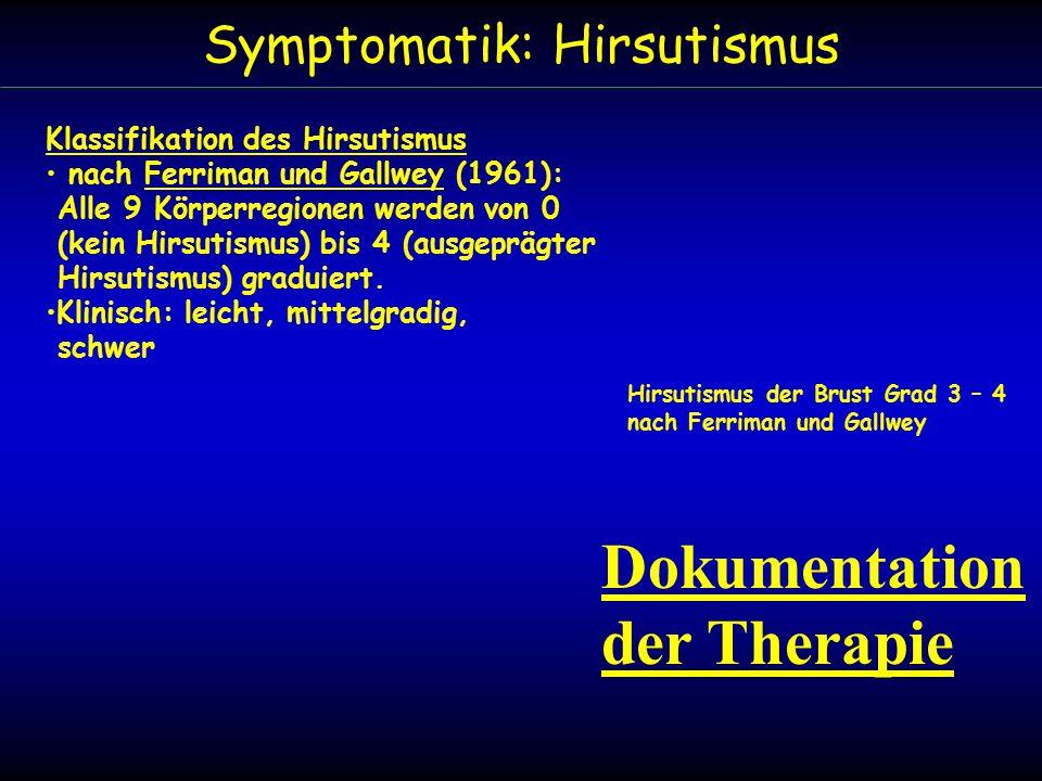 Symptomatik: Hirsutismus Klassifikation des Hirsutismus nach Ferriman und Gallwey (1961): Alle 9 Körperregionen werden von 0 (kein Hirsutismus) bis 4 (ausgeprägter Hirsutismus) graduiert.