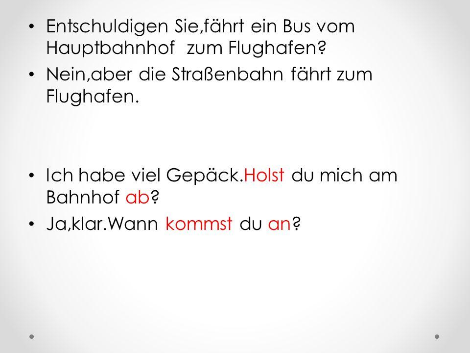 Entschuldigen Sie,fährt ein Bus vom Hauptbahnhof zum Flughafen.