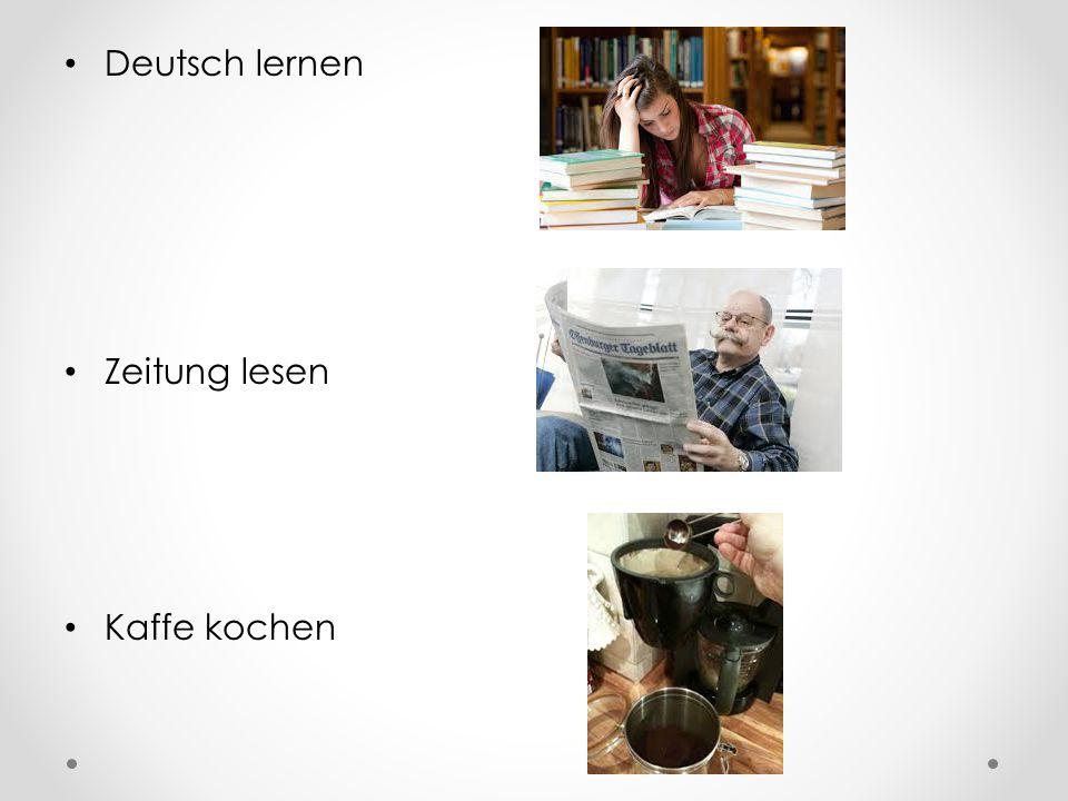 Deutsch lernen Zeitung lesen Kaffe kochen