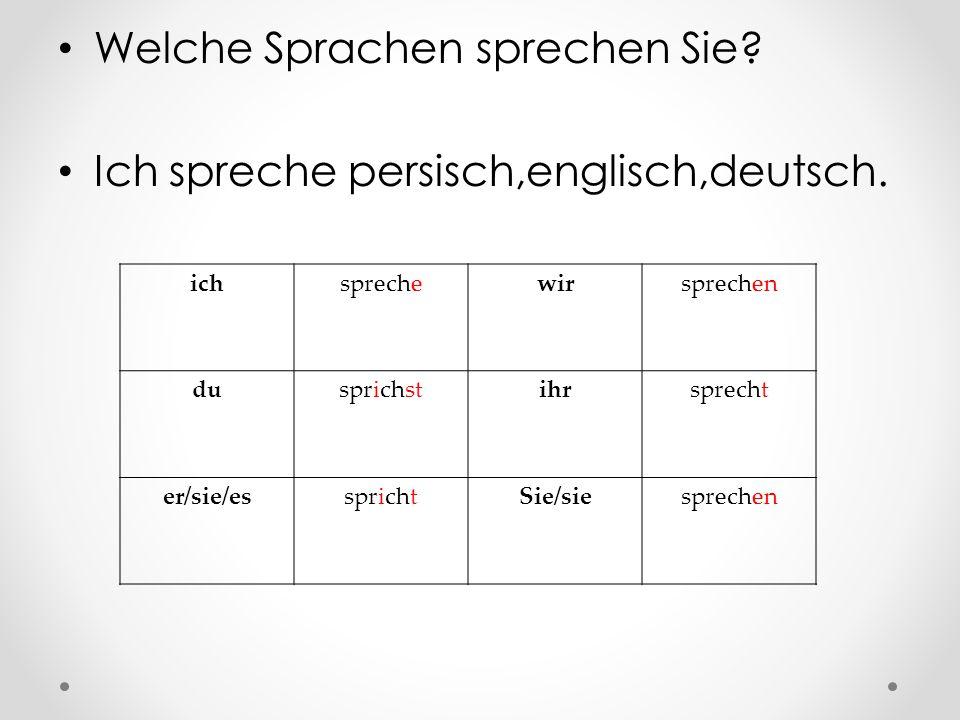Welche Sprachen sprechen Sie.Ich spreche persisch,englisch,deutsch.