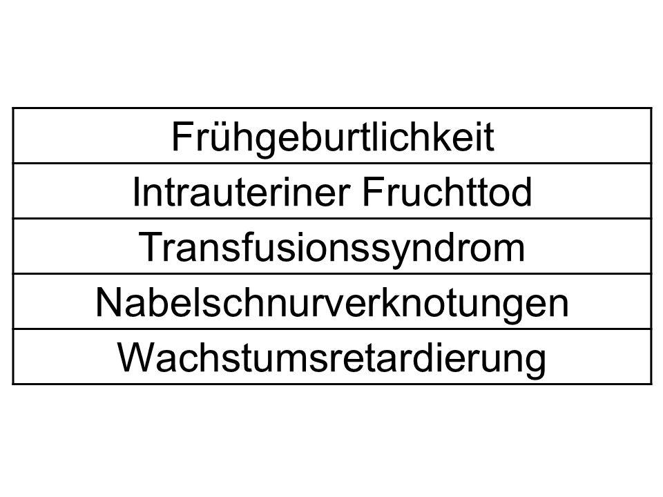 Frühgeburtlichkeit Intrauteriner Fruchttod Transfusionssyndrom Nabelschnurverknotungen Wachstumsretardierung