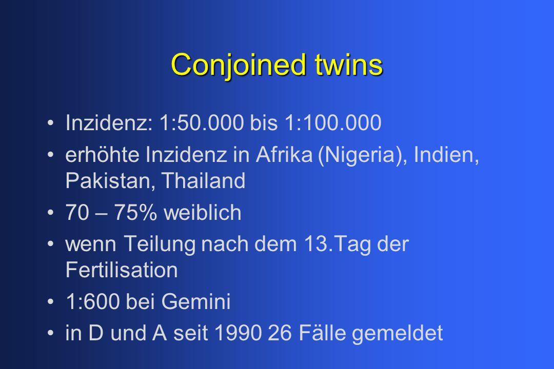Conjoined twins Inzidenz: 1:50.000 bis 1:100.000 erhöhte Inzidenz in Afrika (Nigeria), Indien, Pakistan, Thailand 70 – 75% weiblich wenn Teilung nach dem 13.Tag der Fertilisation 1:600 bei Gemini in D und A seit 1990 26 Fälle gemeldet