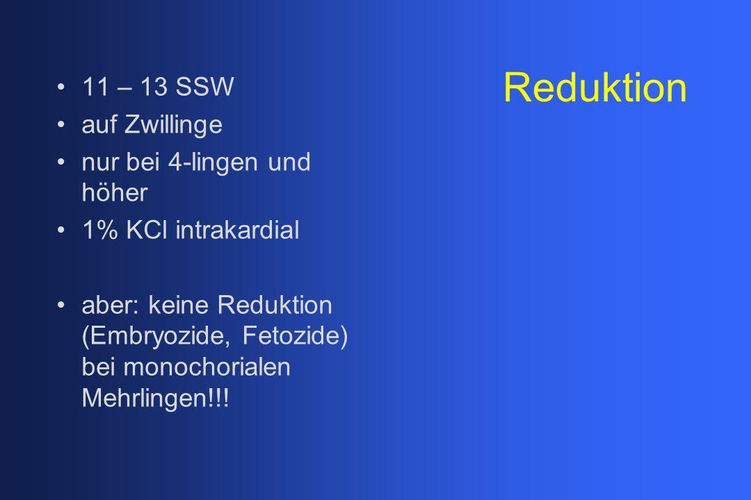 Reduktion 11 – 13 SSW auf Zwillinge nur bei 4-lingen und höher 1% KCl intrakardial aber: keine Reduktion (Embryozide, Fetozide) bei monochorialen Mehr