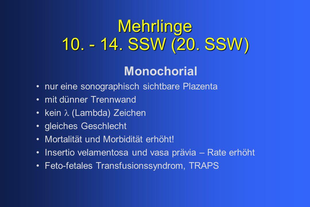 Mehrlinge 10. - 14. SSW (20. SSW) Monochorial nur eine sonographisch sichtbare Plazenta mit dünner Trennwand kein (Lambda) Zeichen gleiches Geschlecht