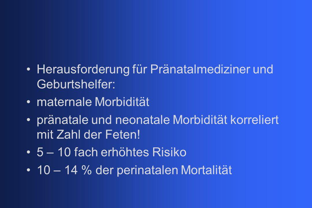 Herausforderung für Pränatalmediziner und Geburtshelfer: maternale Morbidität pränatale und neonatale Morbidität korreliert mit Zahl der Feten! 5 – 10