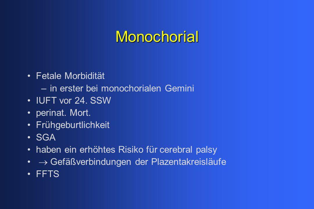 Monochorial Fetale Morbidität –in erster bei monochorialen Gemini IUFT vor 24. SSW  perinat. Mort.  Frühgeburtlichkeit  SGA  haben ein erhöhtes Ri