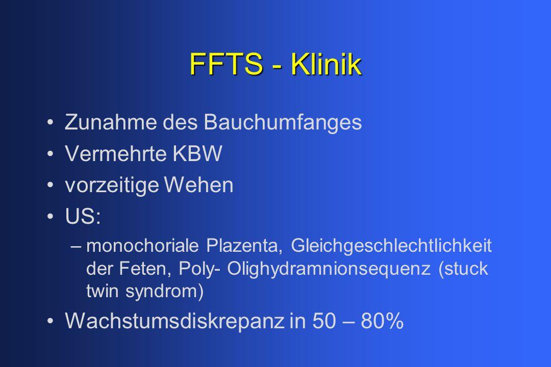 FFTS - Klinik Zunahme des Bauchumfanges Vermehrte KBW vorzeitige Wehen US: –monochoriale Plazenta, Gleichgeschlechtlichkeit der Feten, Poly- Olighydramnionsequenz (stuck twin syndrom) Wachstumsdiskrepanz in 50 – 80%