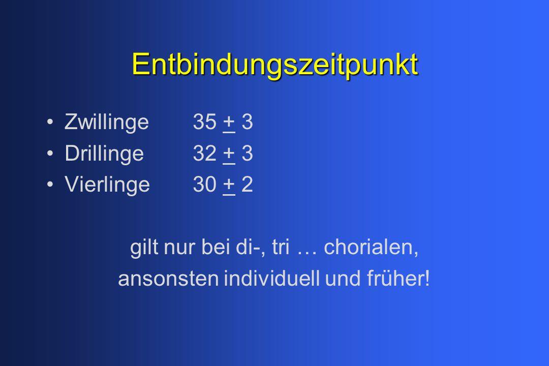 Entbindungszeitpunkt Zwillinge 35 + 3 Drillinge32 + 3 Vierlinge 30 + 2 gilt nur bei di-, tri … chorialen, ansonsten individuell und früher!