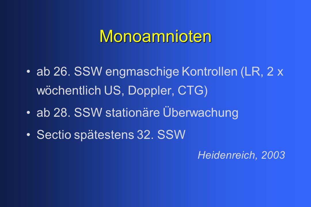 Monoamnioten ab 26. SSW engmaschige Kontrollen (LR, 2 x wöchentlich US, Doppler, CTG) ab 28. SSW stationäre Überwachung Sectio spätestens 32. SSW Heid