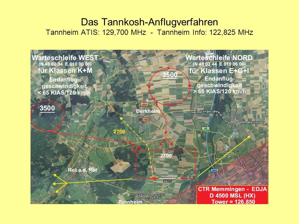 Das Tannkosh-Anflugverfahren Tannheim ATIS: 129,700 MHz - Tannheim Info: 122,825 MHz