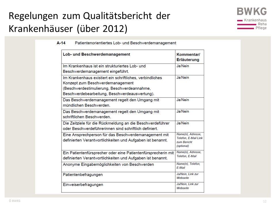© BWKG Regelungen zum Qualitätsbericht der Krankenhäuser (über 2012) 12