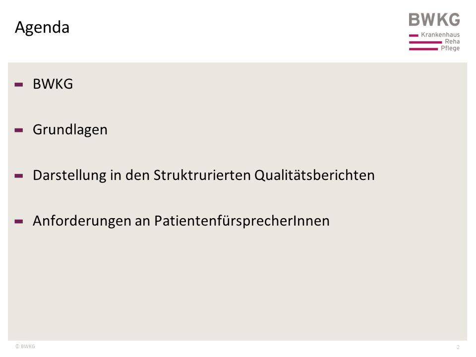 © BWKG Agenda 2 – BWKG – Grundlagen – Darstellung in den Struktrurierten Qualitätsberichten – Anforderungen an PatientenfürsprecherInnen