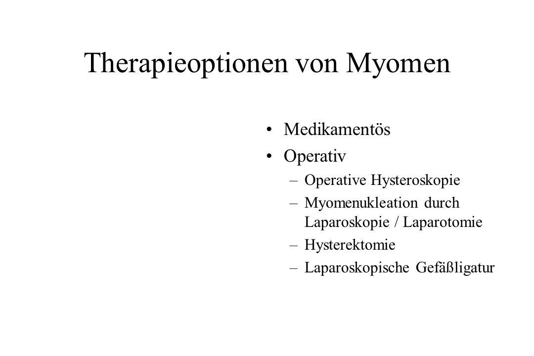 Therapieoptionen von Myomen Medikamentös Operativ –Operative Hysteroskopie –Myomenukleation durch Laparoskopie / Laparotomie –Hysterektomie –Laparosko
