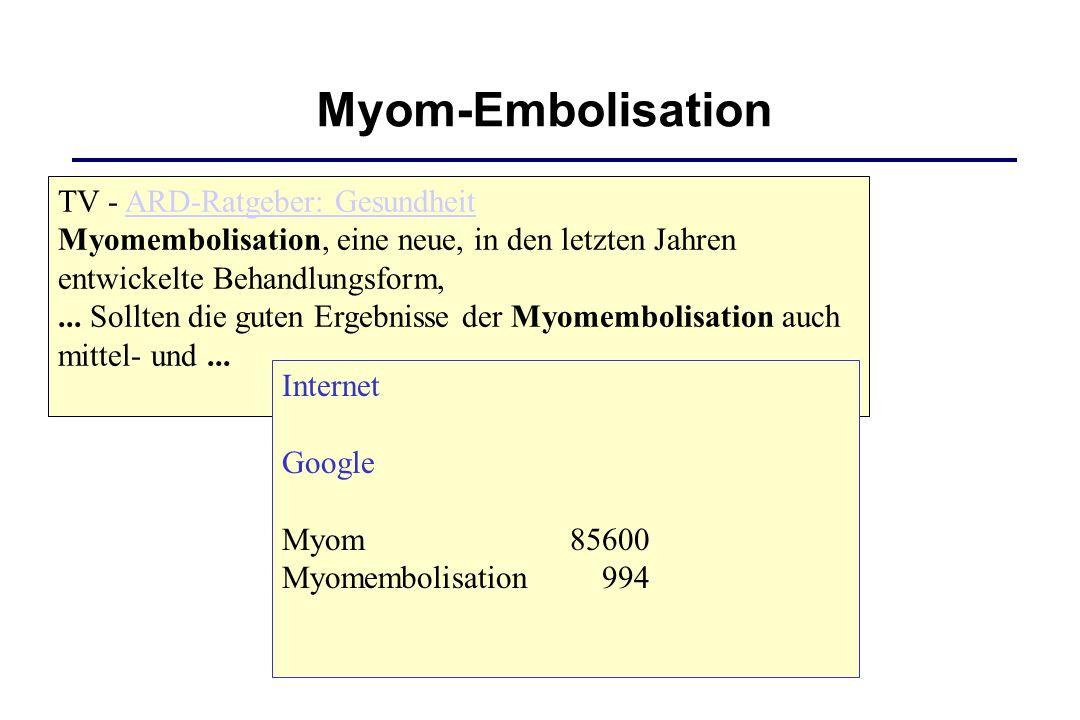 TV - ARD-Ratgeber: Gesundheit Myomembolisation, eine neue, in den letzten Jahren entwickelte Behandlungsform,... Sollten die guten Ergebnisse der Myom