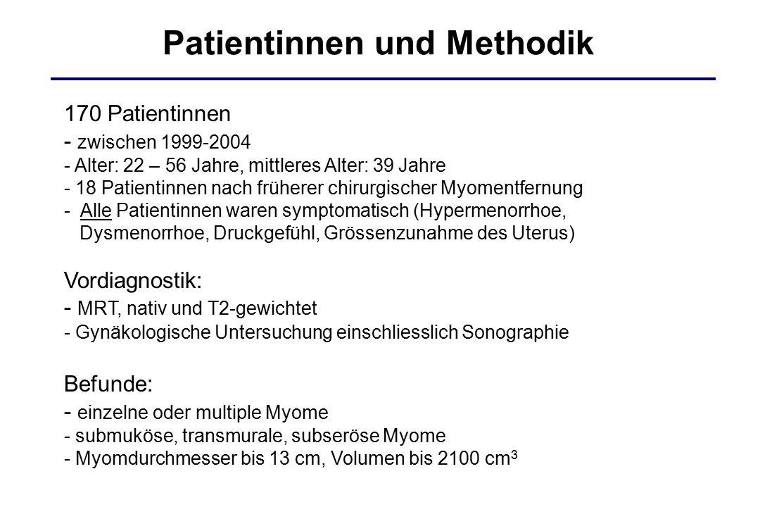 Patientinnen und Methodik 170 Patientinnen - zwischen 1999-2004 - Alter: 22 – 56 Jahre, mittleres Alter: 39 Jahre - 18 Patientinnen nach früherer chir