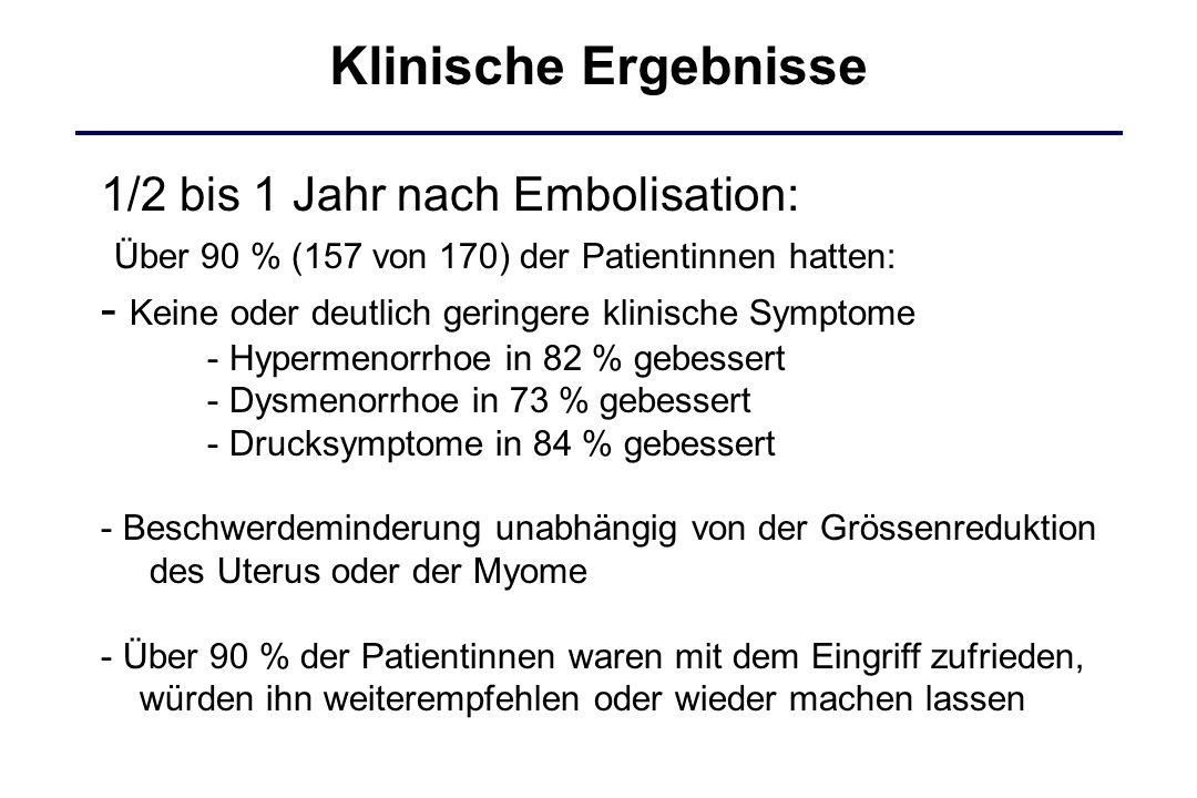 Klinische Ergebnisse 1/2 bis 1 Jahr nach Embolisation: Über 90 % (157 von 170) der Patientinnen hatten: - Keine oder deutlich geringere klinische Symp