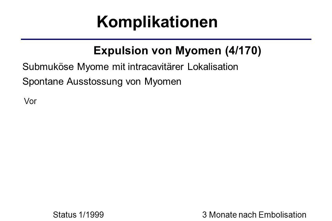 Status 1/1999 Komplikationen Submuköse Myome mit intracavitärer Lokalisation 3 Monate nach Embolisation Spontane Ausstossung von Myomen Vor Expulsion